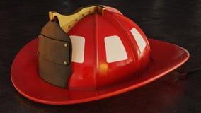 Blank Firefighter Helmet on asphalt. Blank lightly worn red firefighter helmet resting on pavement at night. 3D Illustration Royalty Free Stock Photos