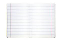 Blank lined exercise book. On white Royalty Free Stock Image