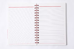 Blank lined notebook. White background Royalty Free Stock Photo