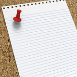 Blank lined notepaper with red pushpin Stock Images