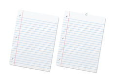 Blank lined paper sheets or notepad pages. Blank lined paper sheets or notepad pages on a white background Royalty Free Stock Images