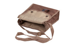 Blank linen bag with shoulder strap lies Royalty Free Stock Photo