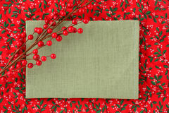 Blank linen Christmas sign Royalty Free Stock Image