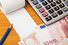 Blank list with Euro and calculator Royalty Free Stock Photography