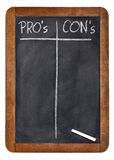 Blank list of pro and contra arguments Stock Photography