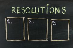 Blank list of resolutions on blackboard Stock Photo