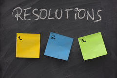 Blank list of resolutions on blackboard royalty free stock photos