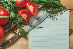 Blank list with vegetable around Stock Image
