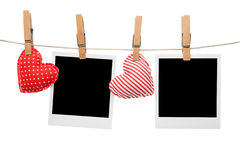 Blank love polaroid frame. S hanging on line Royalty Free Stock Image