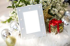 Blank luxury grey photo frame with home decor christmas theme for add text. Image for background, wallpaper, copy space, objects, article and illustration royalty free stock images