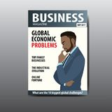 The blank magazine cover, businessman thinking about a problem. The blank magazine cover,african american businessman thinking about a problem, template, stock Royalty Free Stock Image