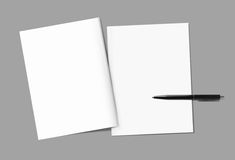 Blank magazine covers. And pen template on gray background. Back and front. Responsive design template. Blank mock-up for your design. Isolated with clipping royalty free stock photos