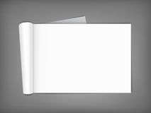 Blank magazine with rolled pages. Royalty Free Stock Photos