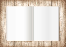 Blank magazine on wooden background. Template Stock Images