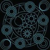 ฺBlank magic circle witchcraft for fill spell. Blank magic circle with sun moon star and six blank Royalty Free Stock Image