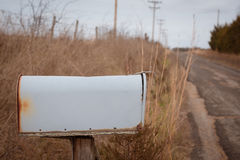 Blank mailbox on country road. Blank gray mail box sitting on winter country road Stock Images
