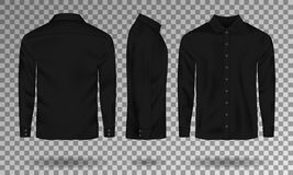 Free Blank Male Black Shirt Template. Realistic Men Shirt With Long Sleeves Front, Side, Back View. Casual Cotton Shirt Royalty Free Stock Photo - 122480485