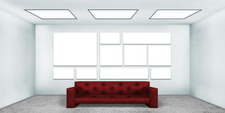 Blank many poster in room Royalty Free Stock Images