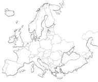 Blank map of Europe. Isolated on white background Royalty Free Illustration