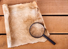 Blank map with magnifying glass Stock Photo