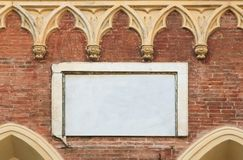 Blank Marble Plaque on An Old Ornate Wall Royalty Free Stock Image