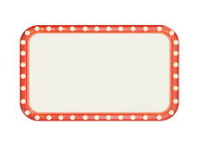 Blank marque red frame with light bulbs isolated on white background. For illustration or text, advertisment Royalty Free Stock Image