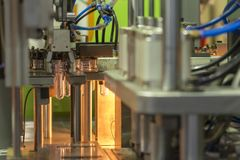 Blank material for bottle blowing process. PET bottle manufacturing process stock image