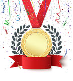Blank medal and red ribbon. Champion, winner, number one background with red ribbon, gold medal, olive branch and confetti on white. Blank poster or brochure Stock Images