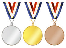 Blank medals. Set of gold, silver and bronze medals Royalty Free Stock Photo
