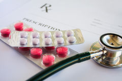 Blank medical prescription with stethoscope Royalty Free Stock Photos