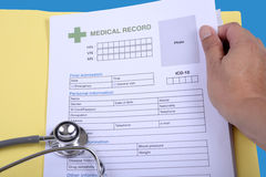 Blank medical record form. Stock Images