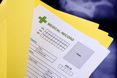 Blank medical record in yellow folder. stock photo