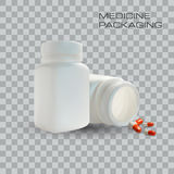 Blank medicine bottle and pills  on transparent background. Vector Illustration. Template for business.  Royalty Free Stock Photo