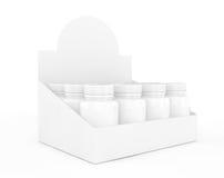 Blank Medicine Bottles in Big Cardboard Package. 3d Rendering Stock Photo