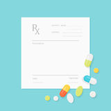 Blank Medicine Prescription Form with Pills Scattered on It. Stock Photography