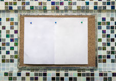 Blank memo board on the texture wood Royalty Free Stock Images