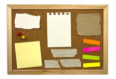 Blank memo notes on cork board Stock Image