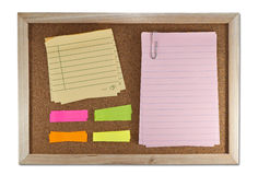 Blank memo notes on cork board Stock Photos