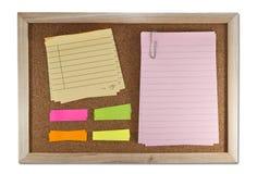 Blank memo notes on cork board Stock Photos