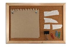 Blank memo notes on cork board stock image
