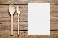 Free Blank Menu And Wooden Fork And Spoon Royalty Free Stock Photo - 62517285