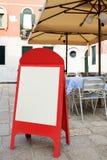 Blank Menu Board At Street Cafe Royalty Free Stock Image