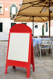 Blank menu board at street cafe Royalty Free Stock Image