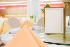 Blank menu card on chinese style table Stock Images