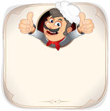 Blank Menu with Cook. Chef Cook showing thumb up, Blank Vector Menu Template Stock Images