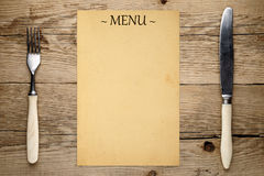 Blank menu, fork and knife Stock Photos