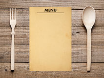 Blank menu, fork and spoon Stock Photo