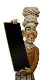 Blank menu sign. Chef is holding a blank menue sign. Insert your own text Royalty Free Stock Photo