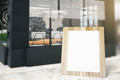 Blank menu stand. Next to cafe exterior. Mock up, 3D Rendering Royalty Free Stock Image