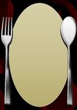 A blank Menu template with wine stains. A blank menu page with red wine stains and cutlery stock illustration